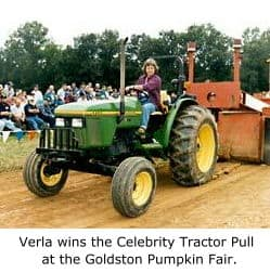 Verla wins the Celebrity Tractor Pull at the Goldston Pumpkin Fair.